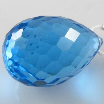 1 Swiss Blue Topaz AAAA faceted tear drop briolette pendant gemstone bead (I) 11.2 x 18mm: Wholesale, High Quality Gemstone Beads - Magpie Gemstones