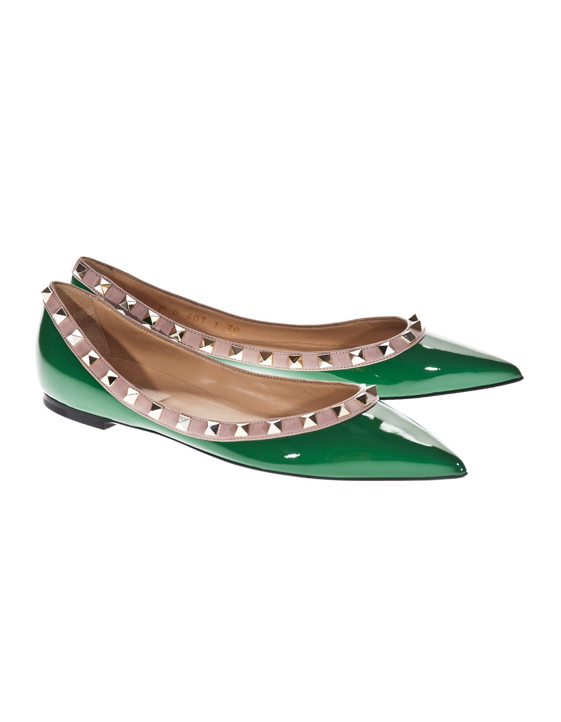 VALENTINO Patent Ballet Rockstud Green Studded patent leather flats - Flats