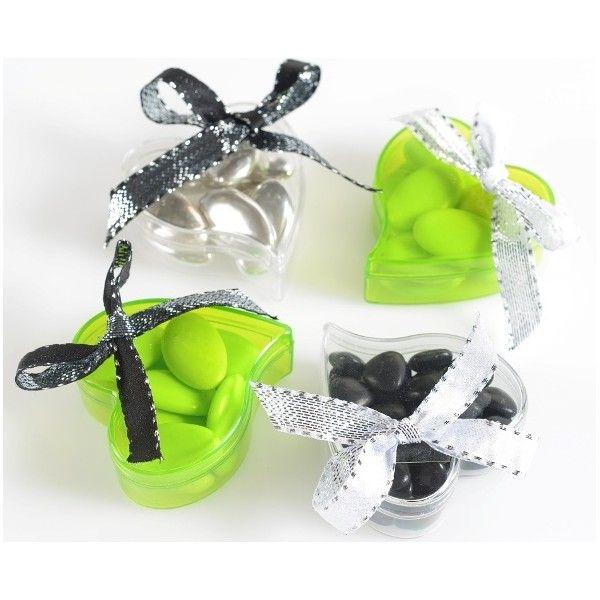 Boite à dragées coeur transparent couleur 6 cm, coloris au choix, Boîte à dragées coeur plexi transparent couleur, contenant à dragées, baptême, mariage, St Valentin.
