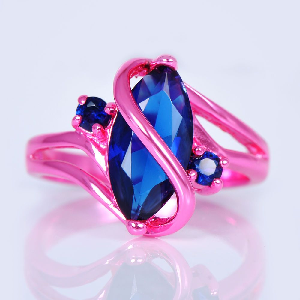 Men/Women\'s Marquise Cut Blue Sapphire Wedding Ring 10KT Pink Gold ...