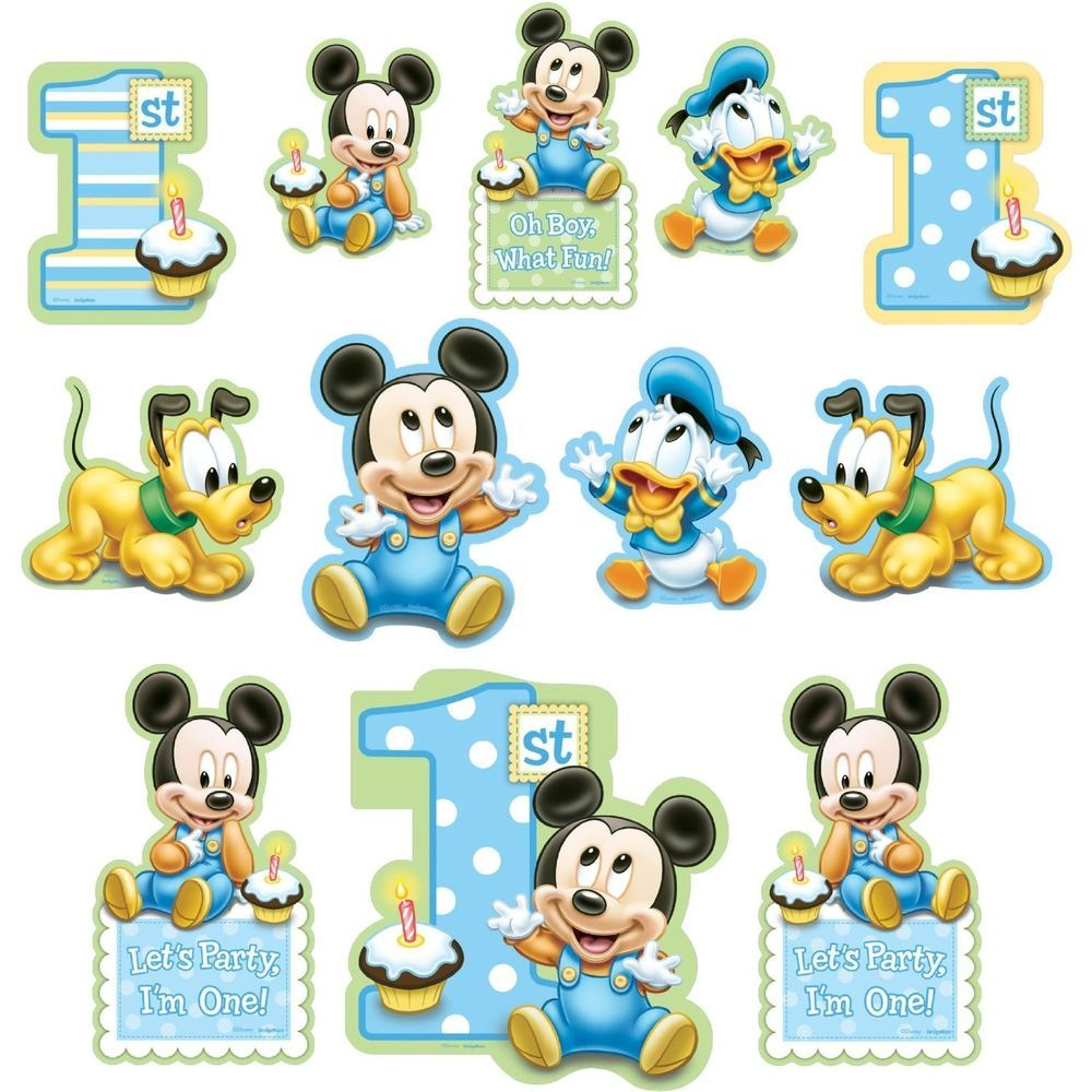 12 Disney Baby Mickey Mouse Happy 1st Birthday Cutout Decorations