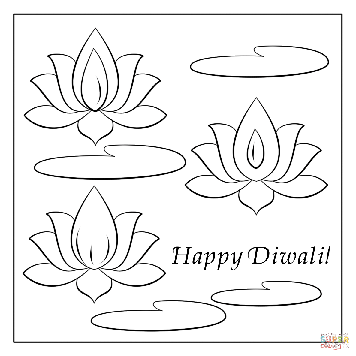 Happy Diwali Card Coloring Page Free Printable Pages Sketch Coloring ...