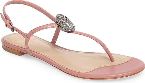 debf0b04b66c Tory Burch Women s Shoes in Pink Magnolia Color. Little crystals sparkle  and shine from the gleaming logo medallion that takes center stage on a  casual-chic ...
