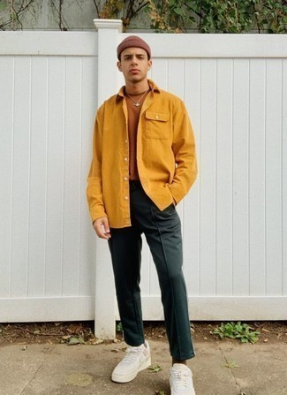Men's Mustard Shirt Jacket, Tobacco Crew-neck T-shirt, Dark Green Sweatpants, White Leather Low Top Sneakers | Men's Fashion | Lookastic.com