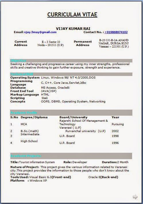 job resume template download Sample Template Excellent Curriculum - Job Resume Format Download