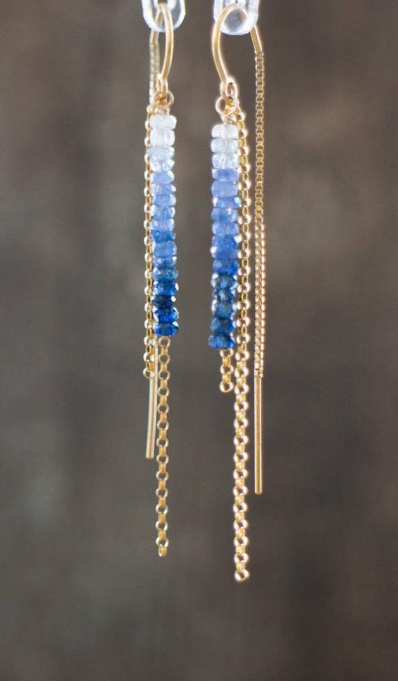 Sapphire Threader Earrings Ombre Earrings Blue Sapphire | Etsy