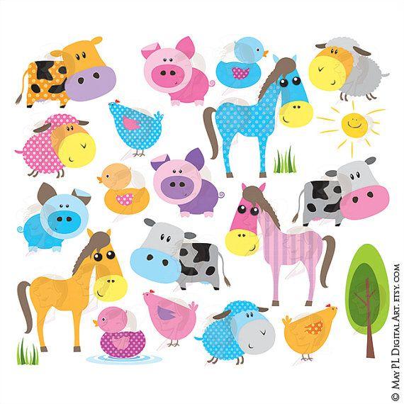 Farm Animal Clipart Cute Baby Animals Includes Horse Pig Etsy Baby Farm Animals Animal Clipart Baby Clip Art