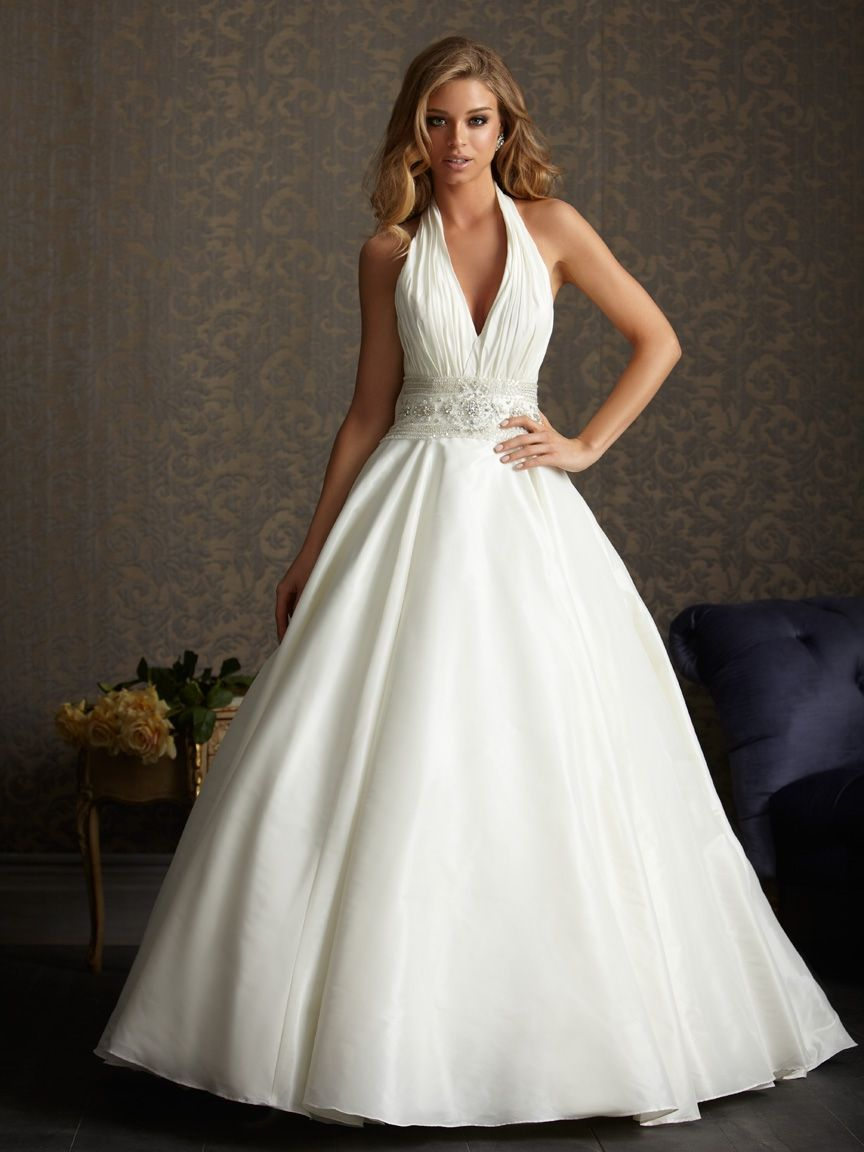 latest aline halter top neck chapel train wedding dress style