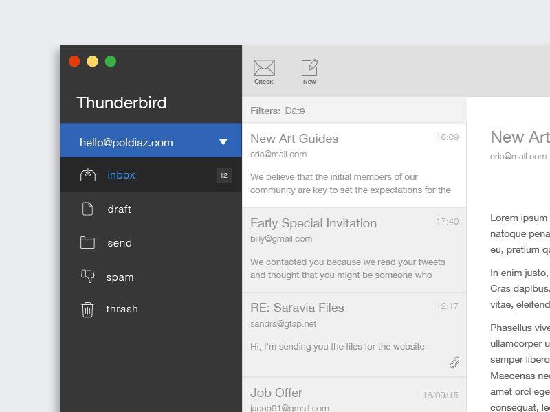 Thunderbird Mail Redesign Concept