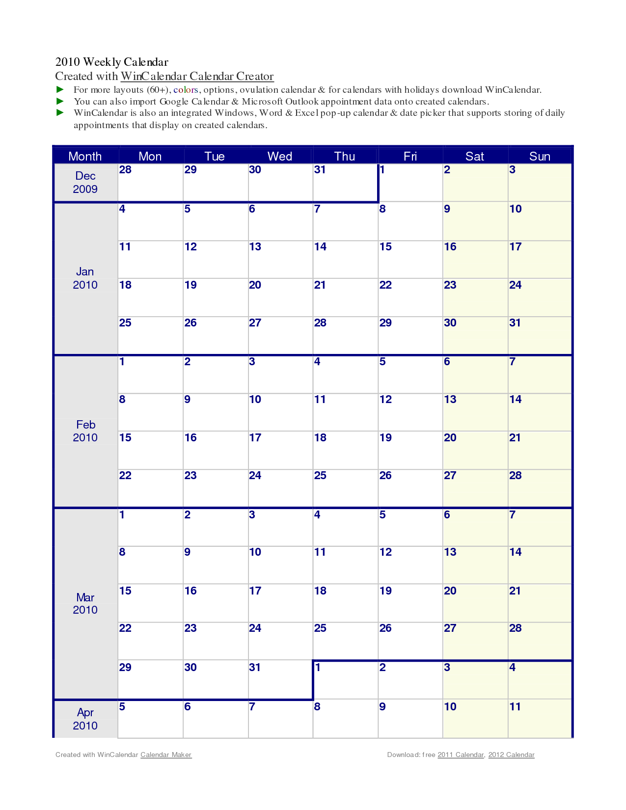 hourly printable calendar