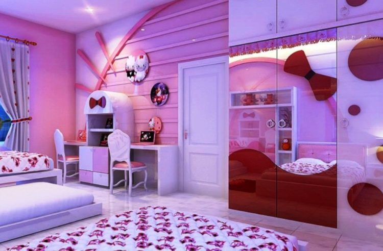 For Girls Only Lovely Hello Kitty Bedroom Decoration Ideas - Hello-kitty-bedroom-set-interior