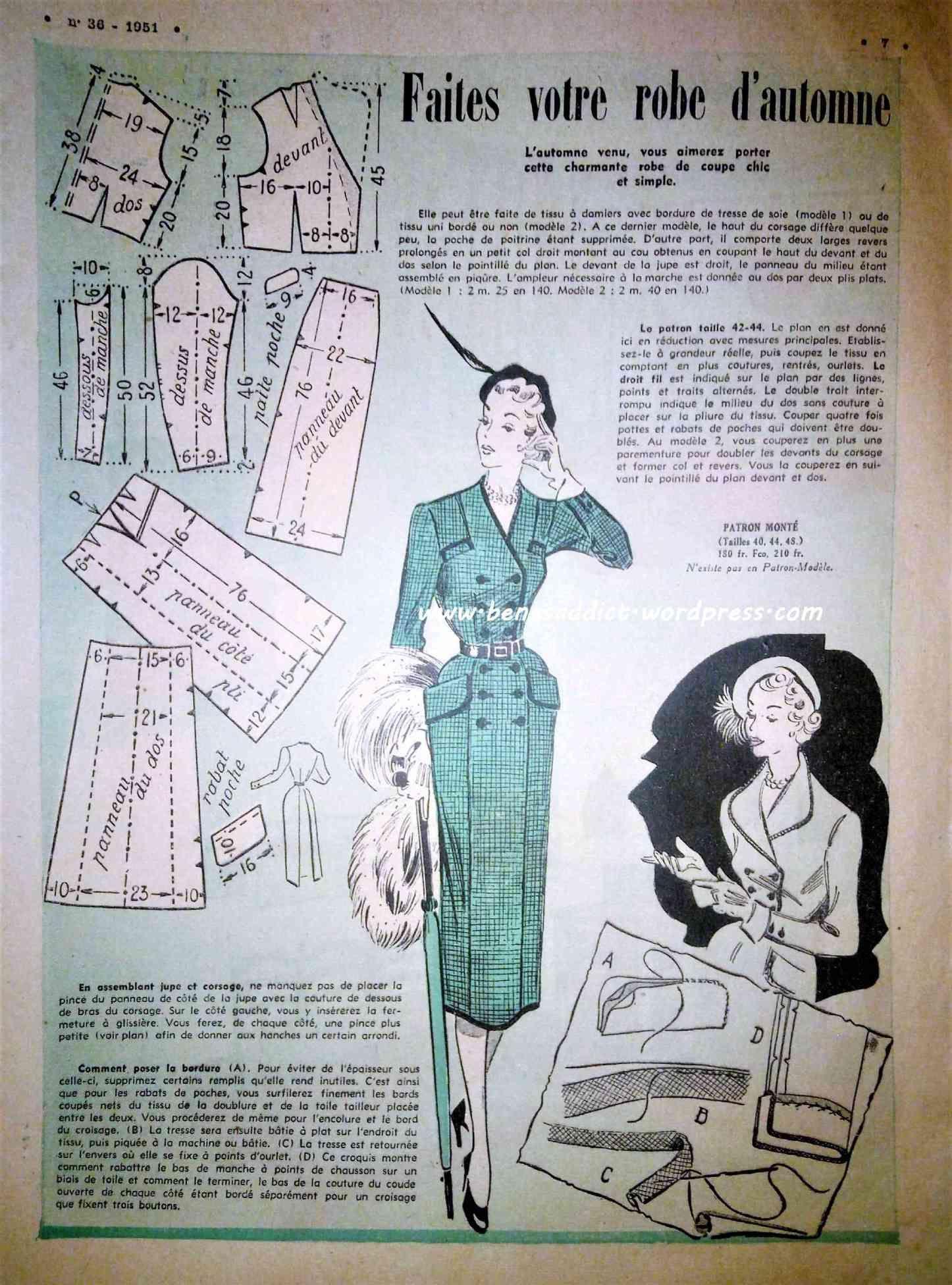 Revue Vintage « Le Petit Echo de la Mode » Juin 1951 avec 5 patrons ...