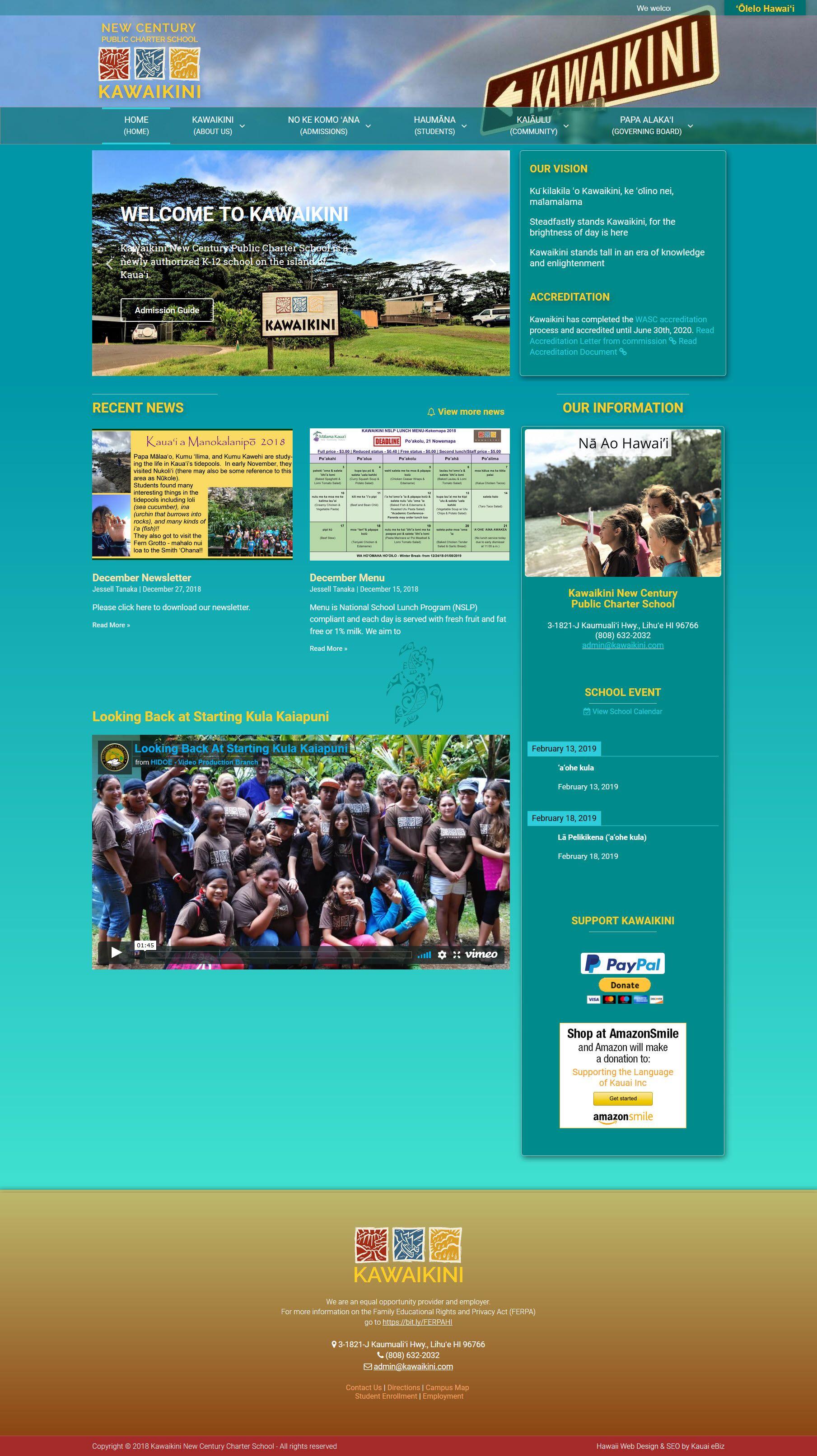 Hawaiian Public Charter School Website Small Business Web Design Portfolio Design Charter School