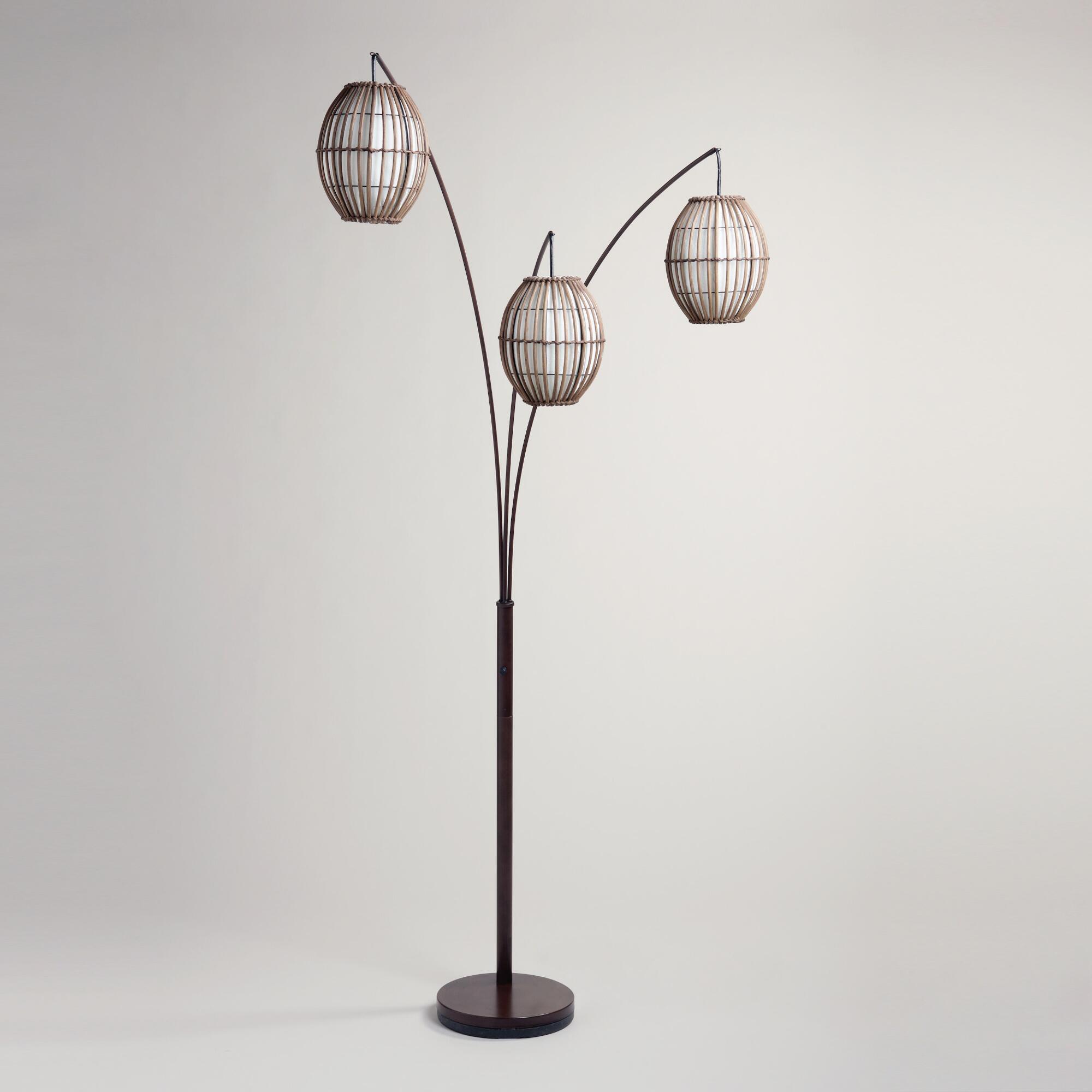 Tiki Arc Spheres Floor Lamp Brown Wood By World Market Luminaria De Chao Lampadas Iluminacao