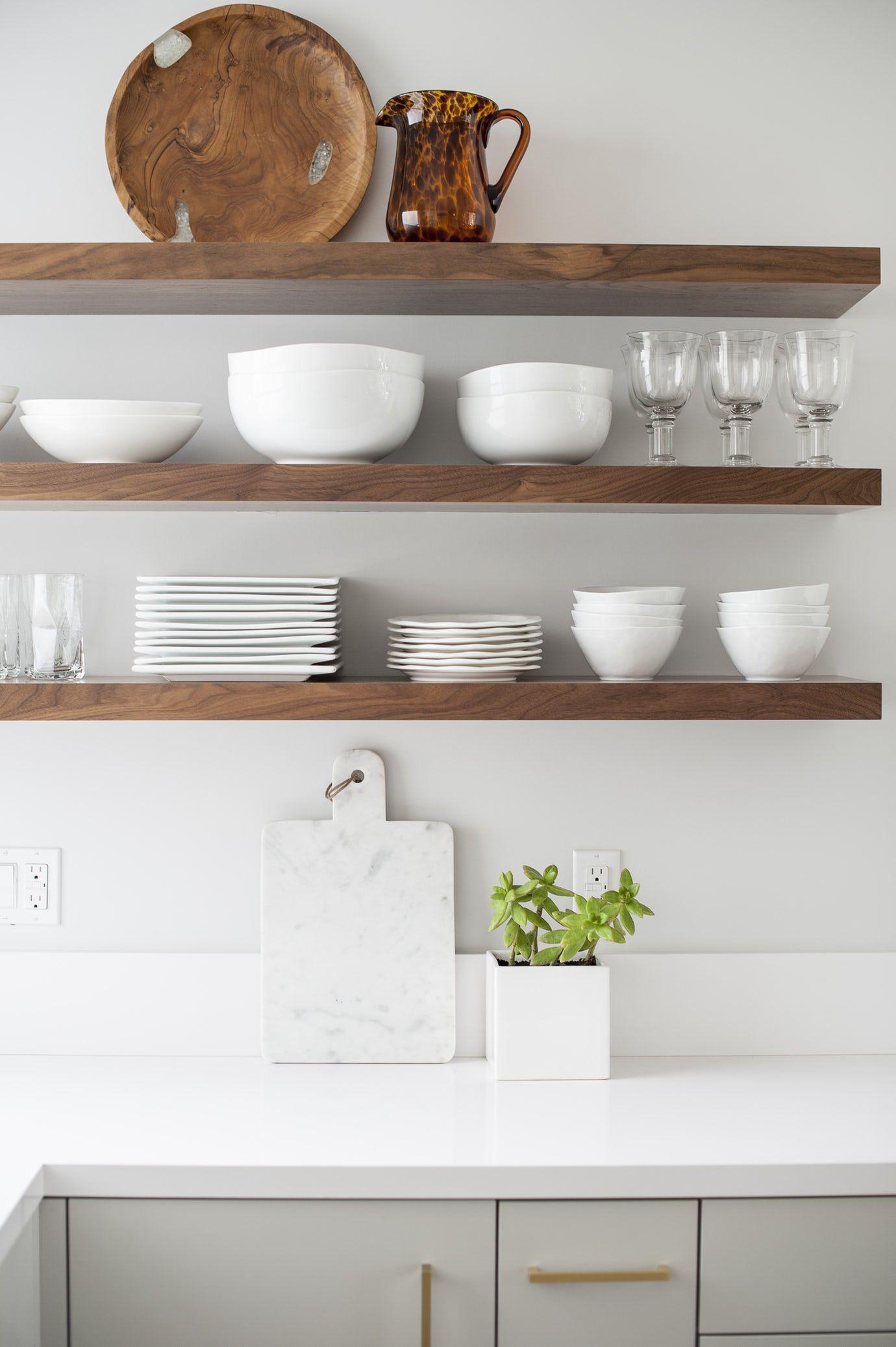modern farmhouse kitchen with open shelving quartz countertop gold accents kitchen on farmhouse kitchen open shelves id=54504