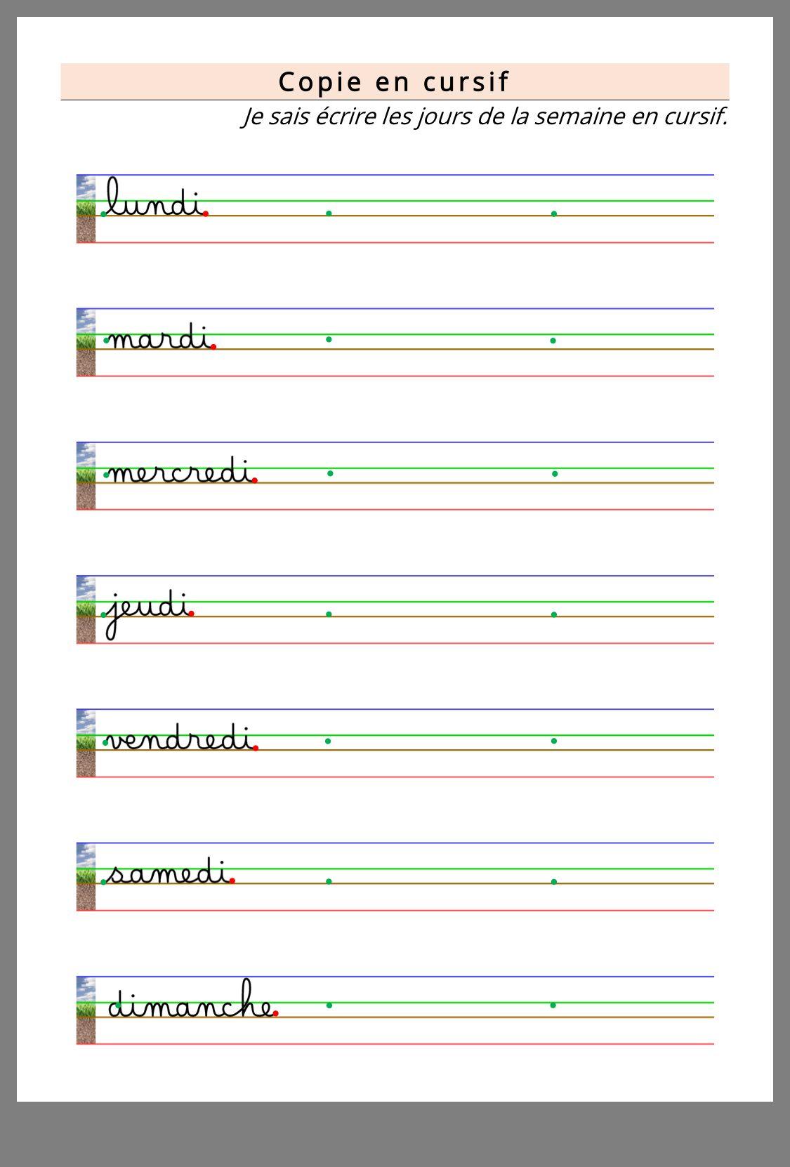 Epingle Par Leila Sur Jour De La Semaine Ecrire En Cursive Apprendre L Alphabet Cahier D Ecriture