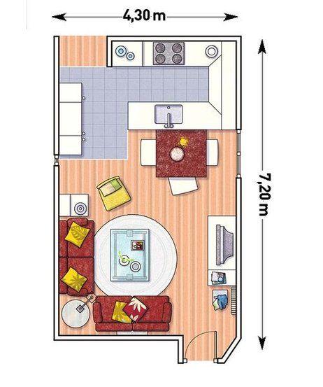 Ideas con planos para integrar la cocina en el sal n for Planos de cocinas pequenas en 3d