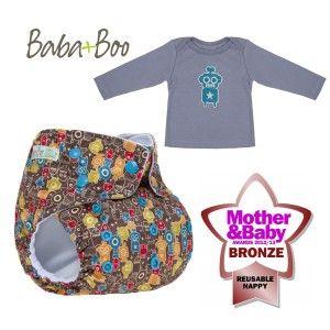 Baba and Boo Set da Regalo - pannolino lavabile pocket / T-shirt in cotone biologico - Robot