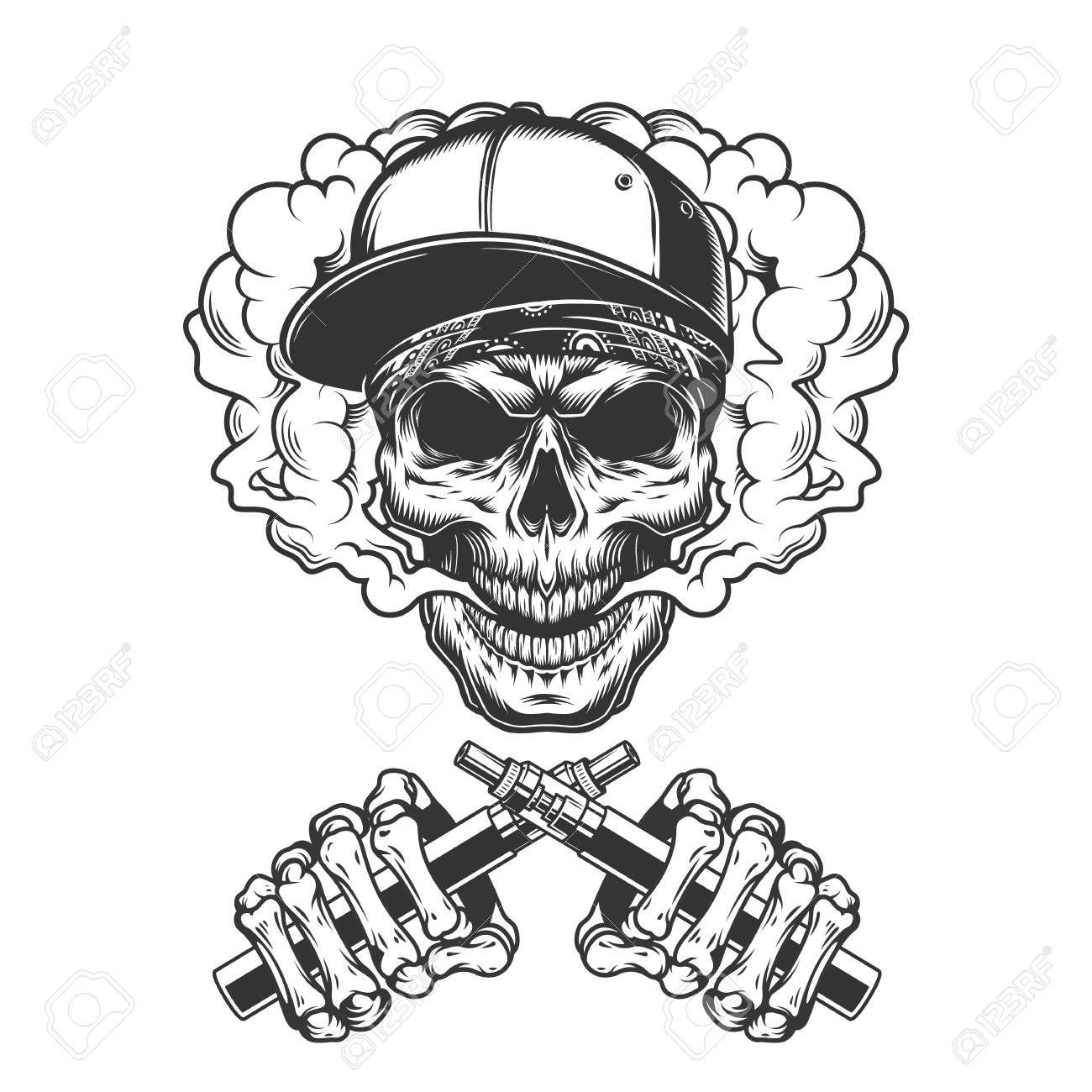 Vintage hipster skull in smoke cloud with crossed skeleton