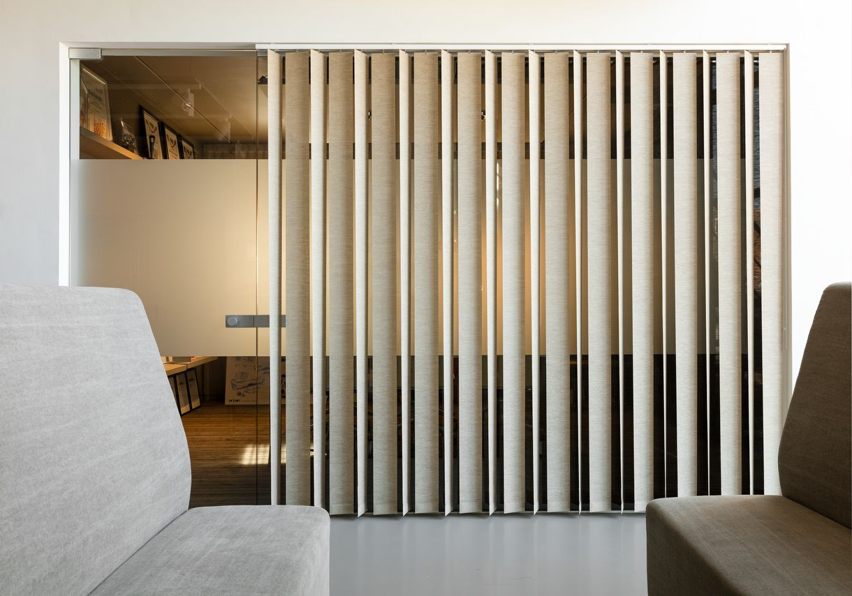 Jasno Swings Vertical Louver Blinds Lobby Interior