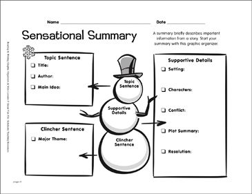 Writing Graphic Organizer: Sensational Summary by