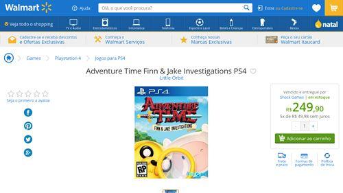 [Wal-Mart] Adventure Time Finn & Jake Investigations PS4 3554634 - de R$ 279,90 por R$ 249,90 (10% de desconto)