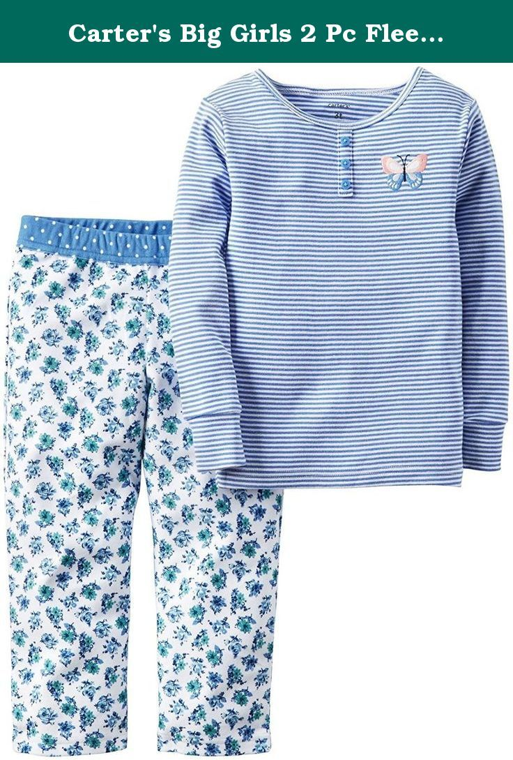 d46769c5c0 Carters Girls 2 Piece Cozy Soft Flannel Pajamas Shirt and Pant Sleepwear  Set Blue Butterfly
