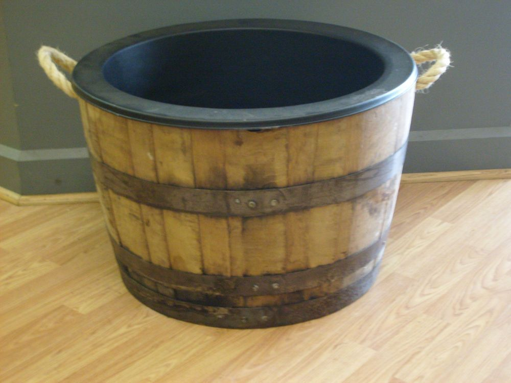 Half White Oak Whiskey Barrel Planter With Rope Handles Black Plastic Liner Whiskey Barrel Planter Barrel Planter Whiskey Barrel