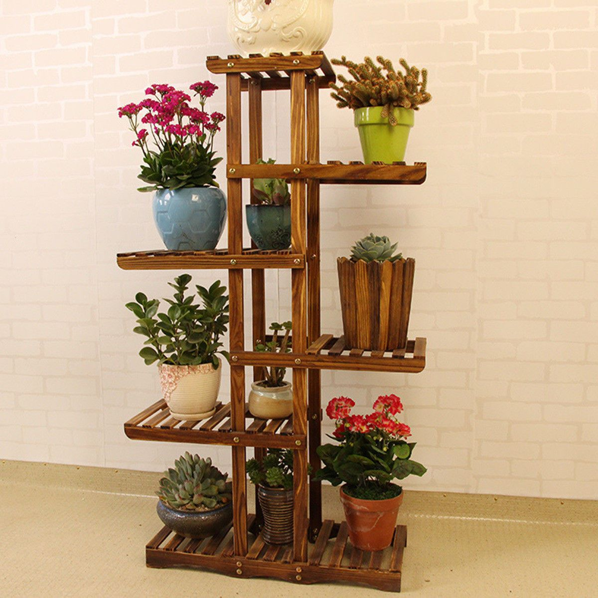 1x Plant Wooden Display Shelf Type Plant Stand Not The Plant Water Proof Indoor Or O Wooden Plant Stands Indoor Wooden Plant Stands Plant Stand