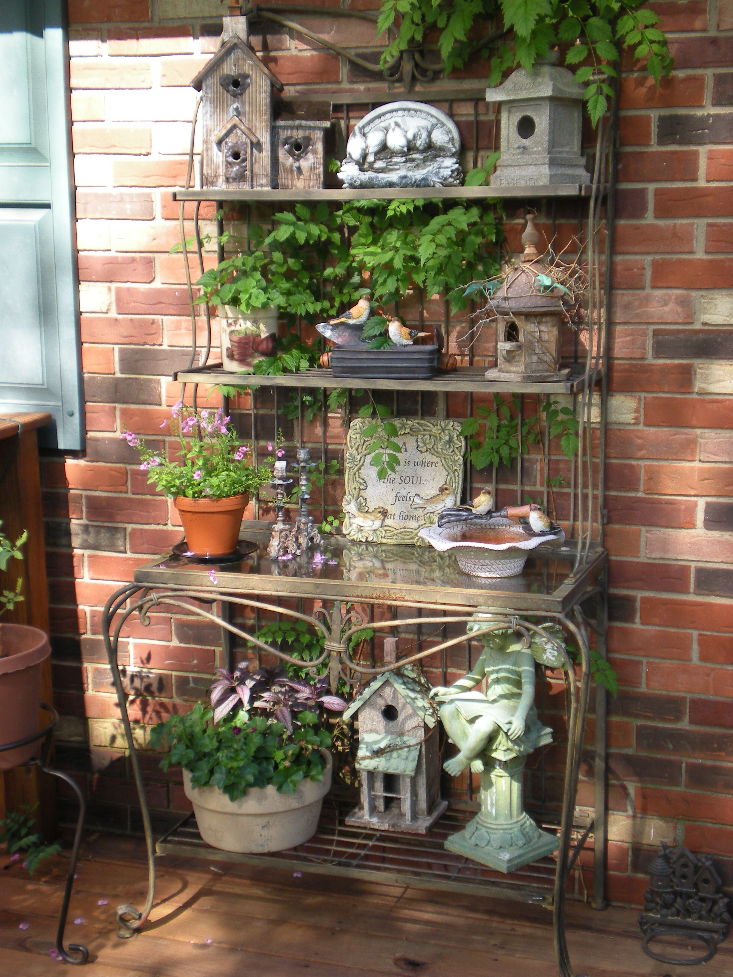 Rustic Bakers Rack For The Garden.