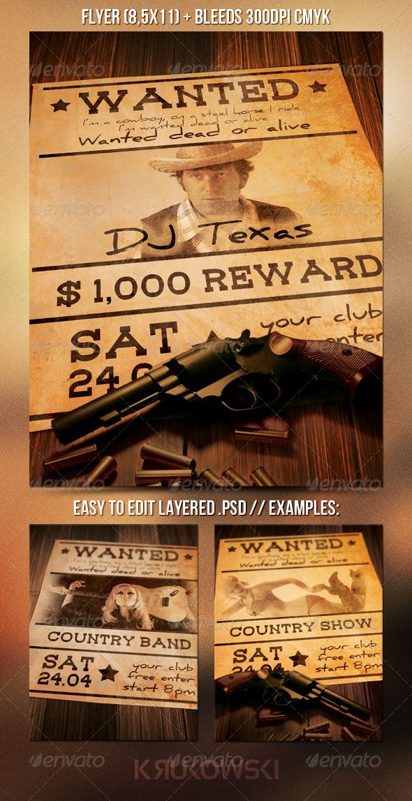 Wanted Flyer Print Templates Flyer Size And Psd Templates