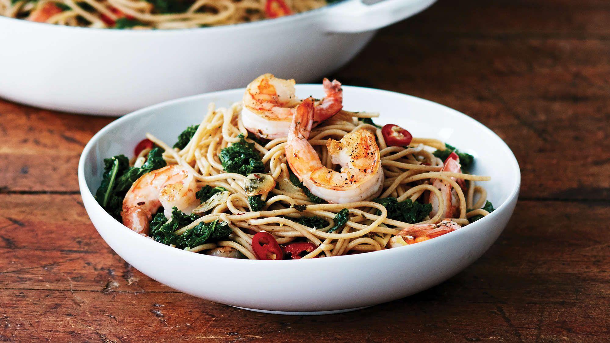 Garlic Shrimp Spaghetti With Buttery Kale Recipe