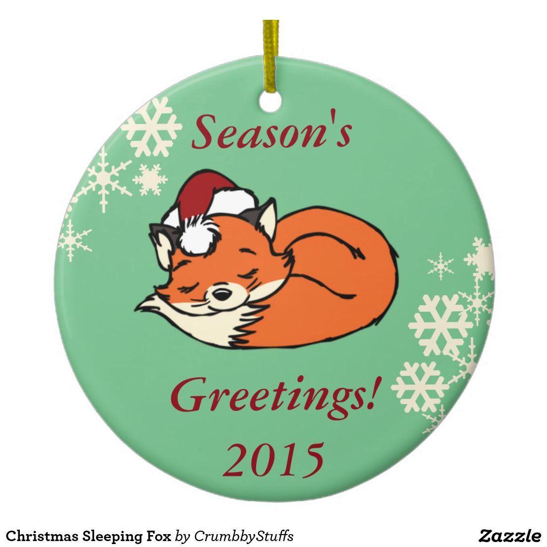 Christmas Sleeping Fox Double-Sided Ceramic Round Christmas Ornament