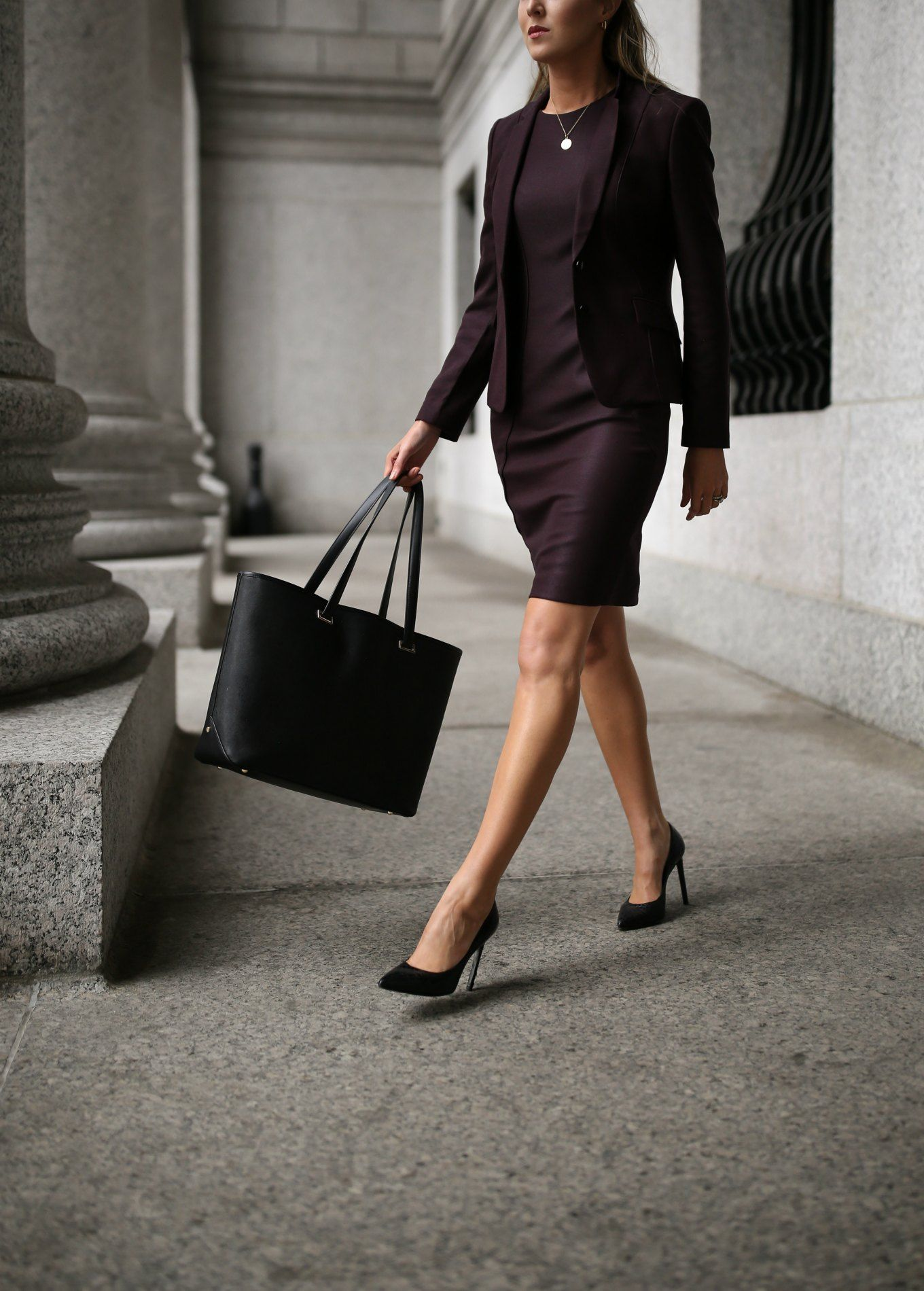 36a202b249 workwear wardrobe essentials featuring a burgundy red hugo boss suit dress  and suit jacket with black stiletto jimmy choo pumps a black tote bag and  gold ...