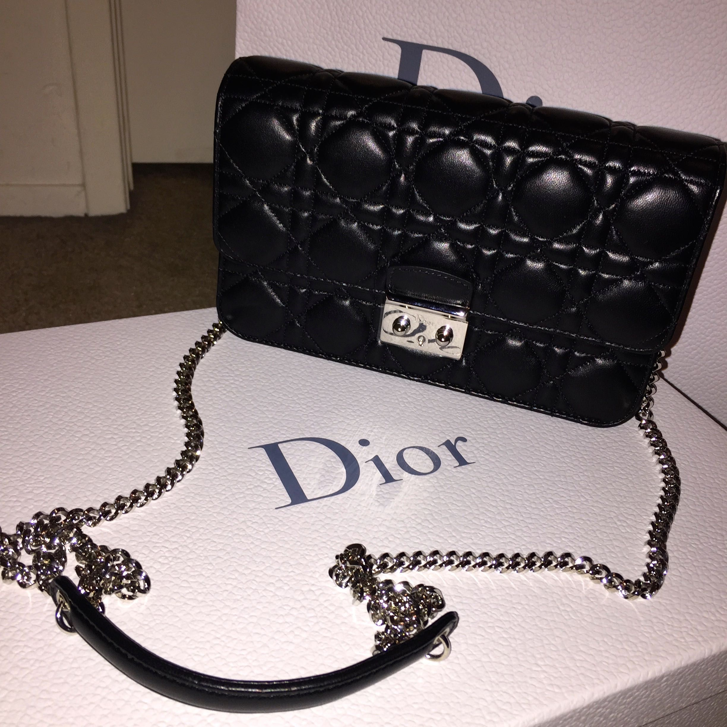 28f5f0f342 MISS DIOR PROMENADE - LARGE POUCH - BLACK LAMBSKIN WITH SILVERHARDWARE -  MADE IN ITALY
