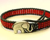 Red elephant bracelet - Lucky Girl -  Bohemian jewelry, leather wrap, friendship bracelet, good luck charm, boho chic