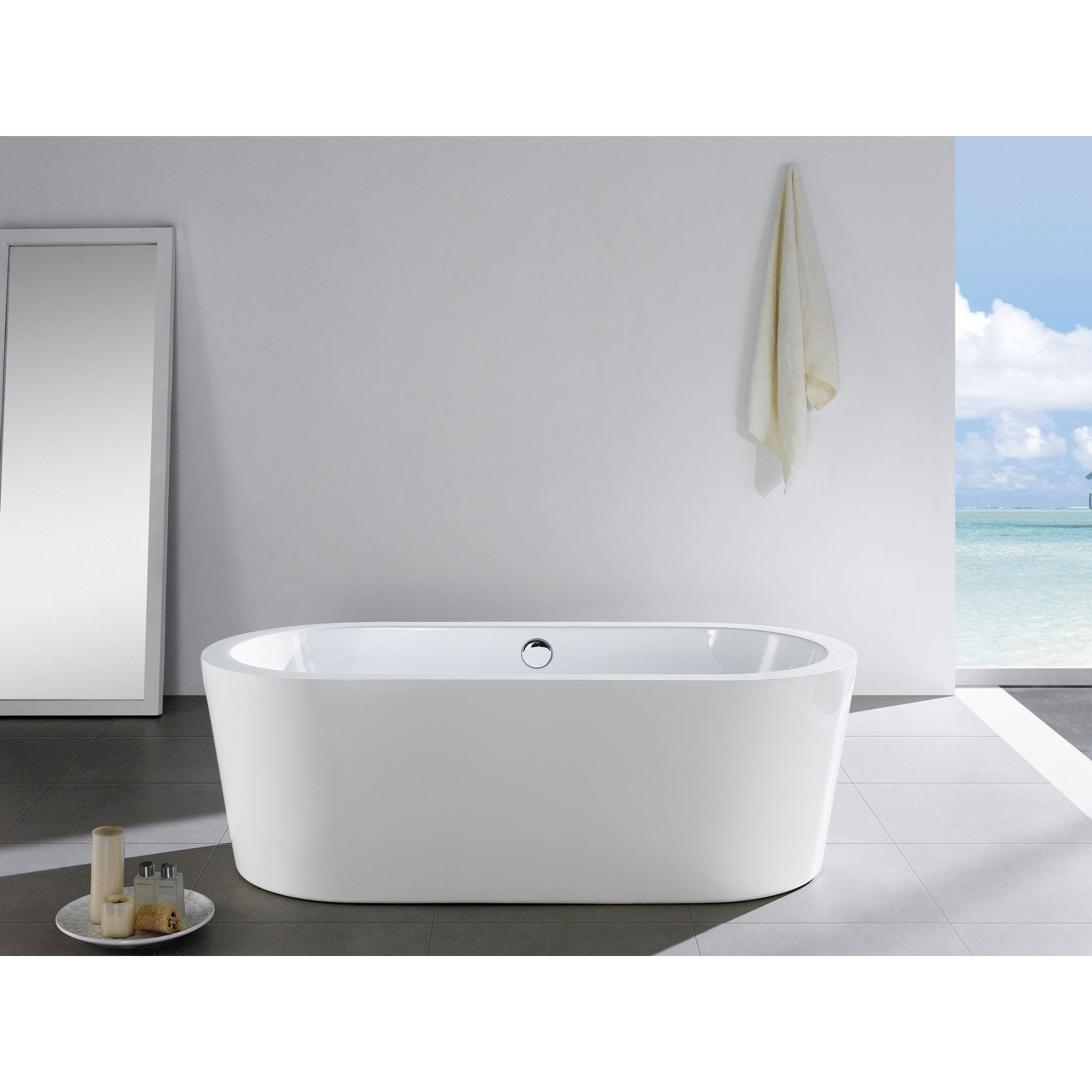 Pacific Collection Mandalay 58-inch x 29-inch White Oval Soaking ...
