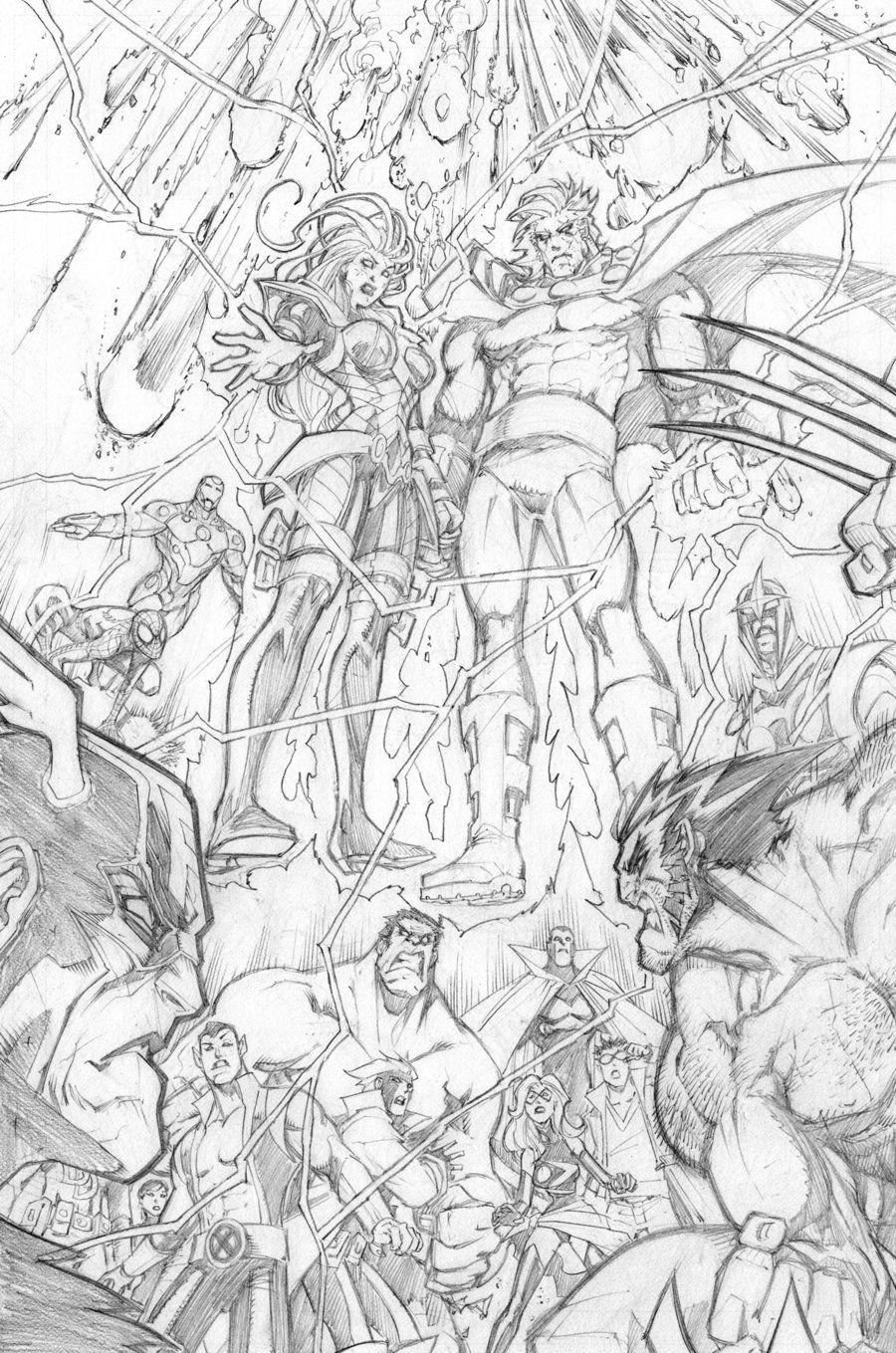 What If Avengers Vs X Men 3 Page 20 Pencils By Sandoval Art On Deviantart Marvel Art Marvel Coloring Comic Books Illustration