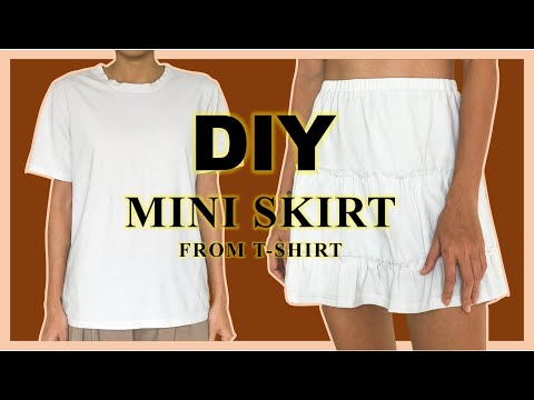 Diy Mini Skirt From T Shirt Refashion T Shirt Into Summer Skirt Youtube In 2020 Shirt Refashion Upcycle Shirt T Shirt Diy