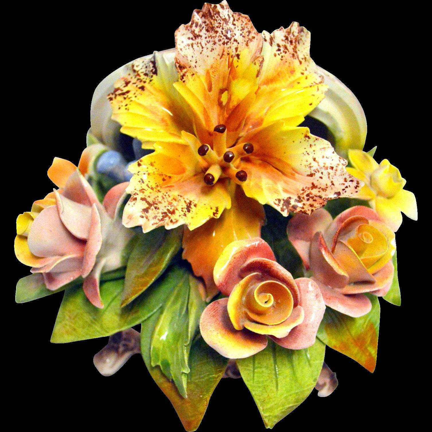 Vintage Capodimonte Porcelain Molded Flowers Decor Box | Porcelain ...