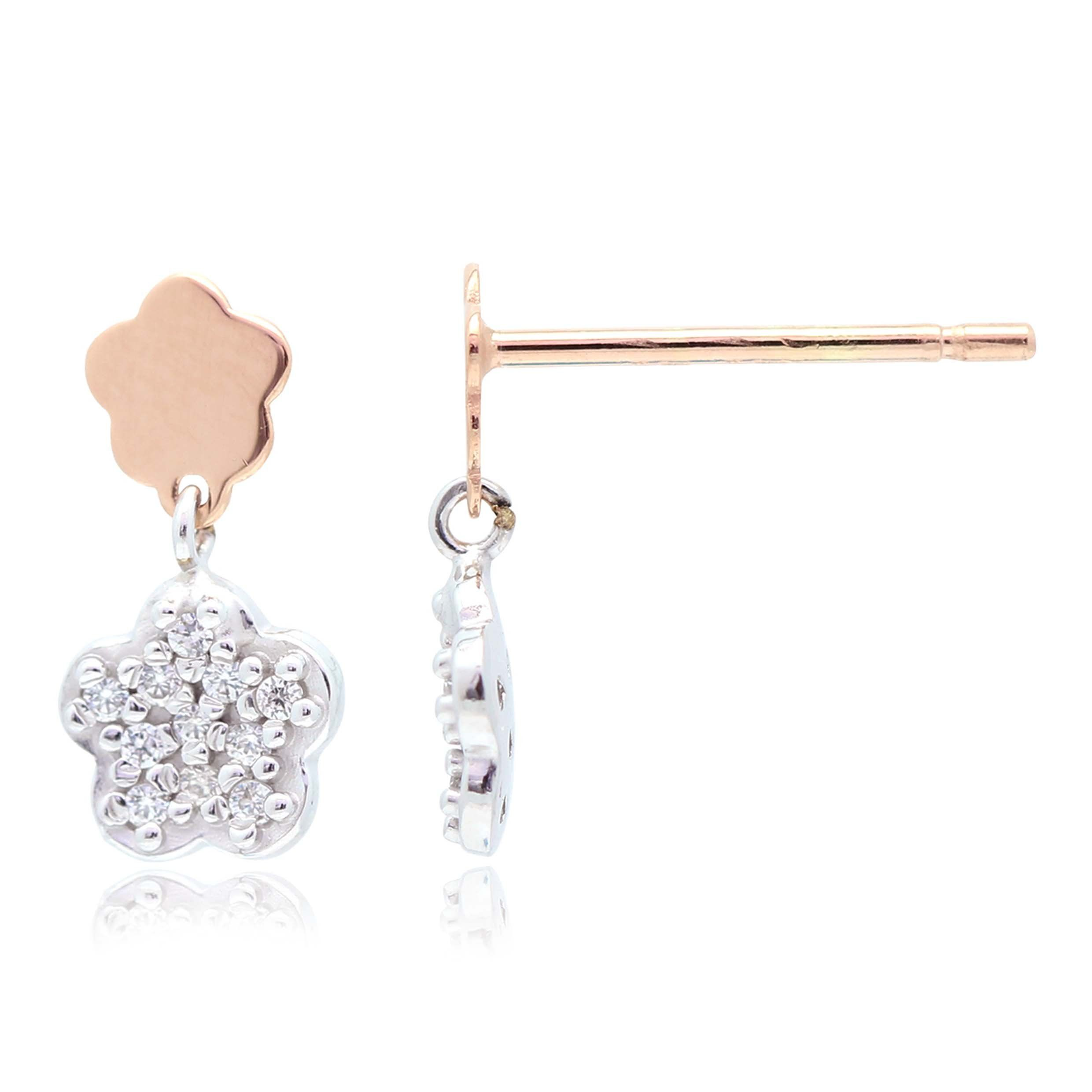 Flower Earrings In 14k White And Rose Gold With Cz Pavé