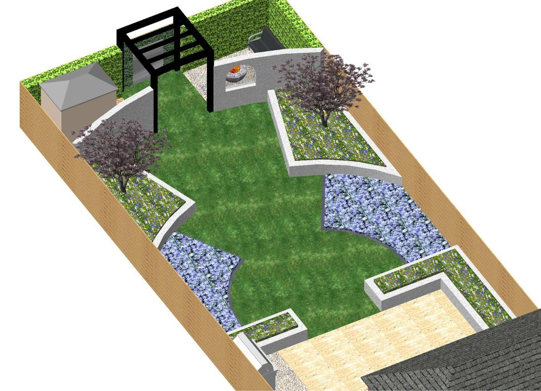 Garden Design Cad 3-d cad model for a contemporary garden in london, with rendered