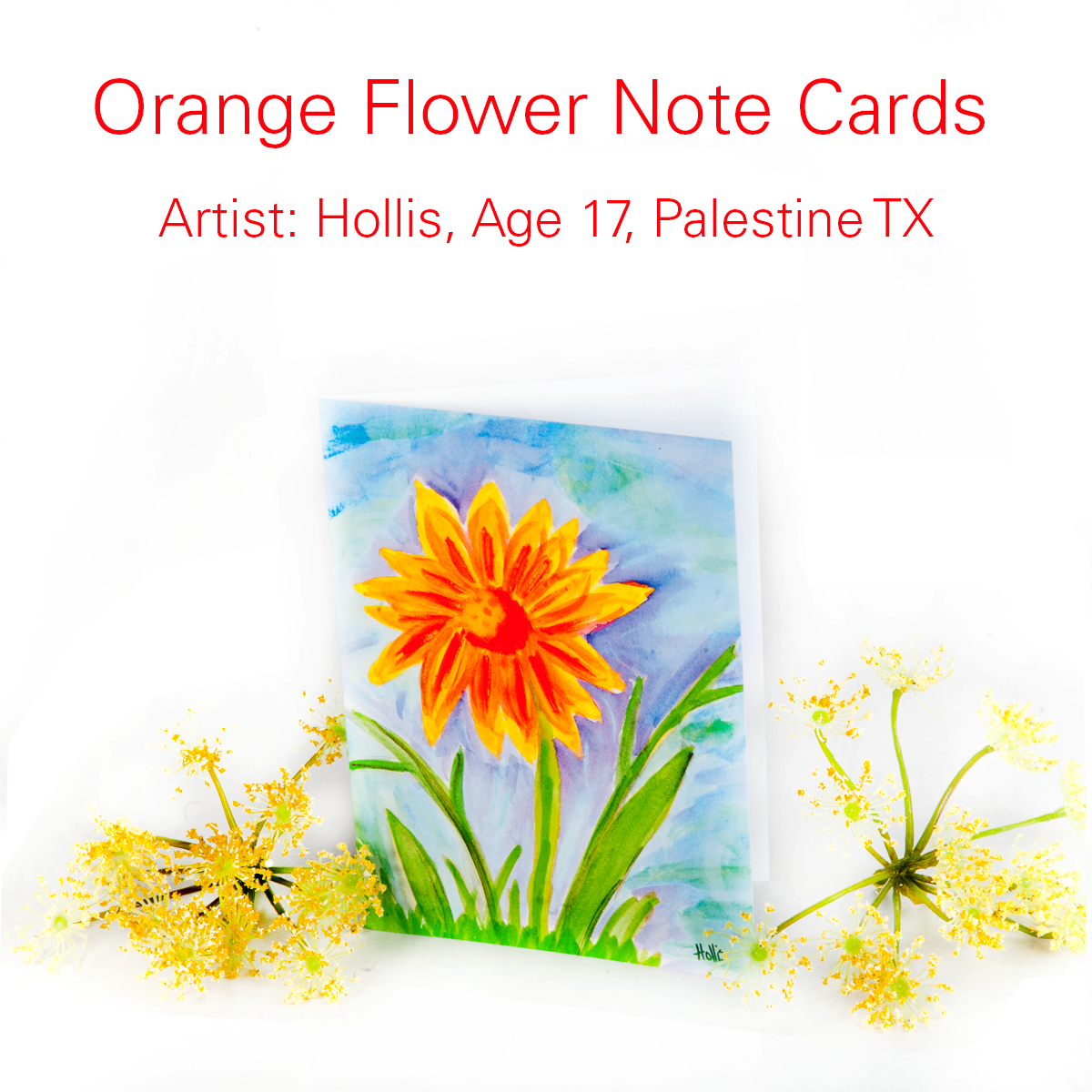 Send a friend some sunny cheer with the orange flower note card the the childrens art project offers merchandise inspired by the artwork of childrens cancer hospital patients at the university of texas m4hsunfo