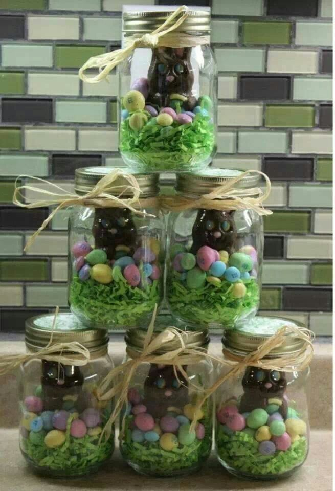 A great easter idea but it could be used for a lot of different these will be my easter gifts mason jar easter chocolate gift filled with eggs chicks a chocolate bunny can put colored krispie treats in bottom or use negle Gallery