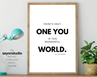 There S Only One You Mr Rogers Quote Inspirational Prints Classroom Decor Printable Wall Art Educational Posters Teacher Digital Download Edit Listing Etsy En 2020
