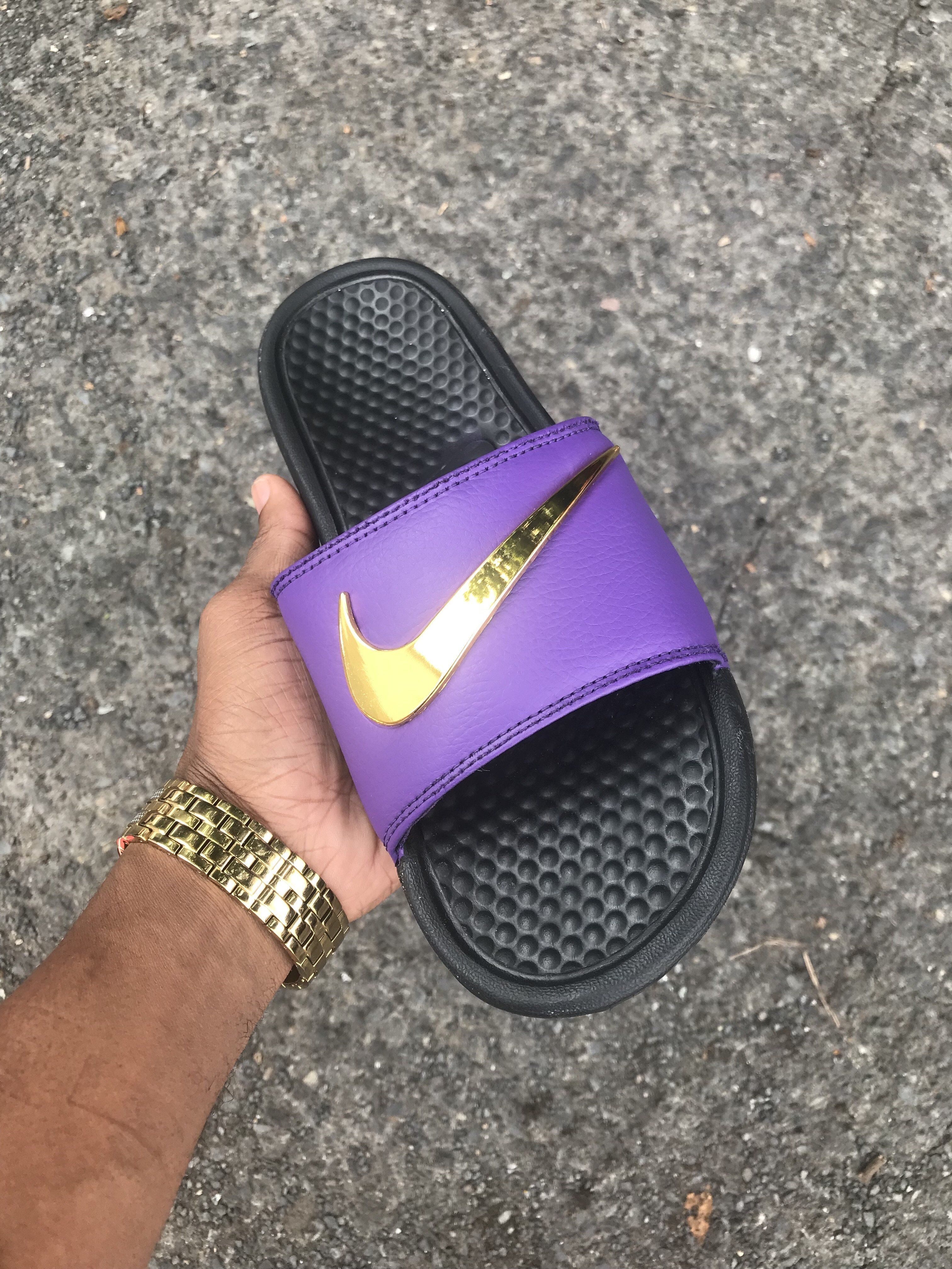 nike slippers purple and gold