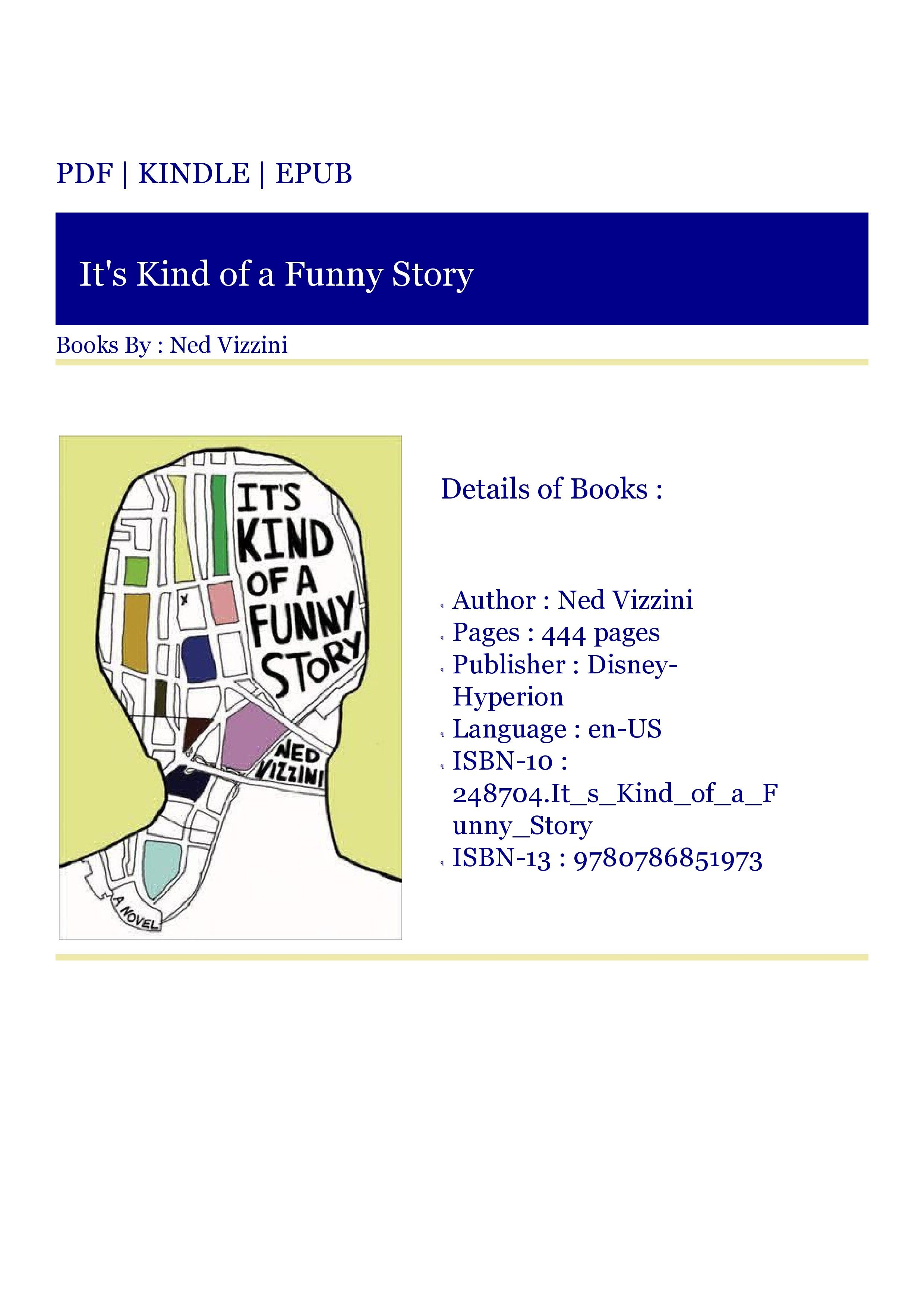Kindle Download It S Kind Of A Funny Story Funny Stories A Funny Funny