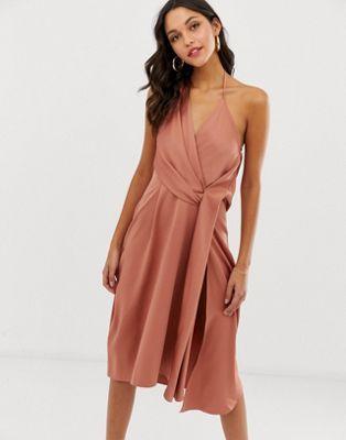 99c1cae3897 DESIGN minimal drape midi dress in satin in 2019