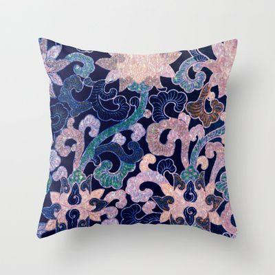glittering Asian pattern Throw Pillow