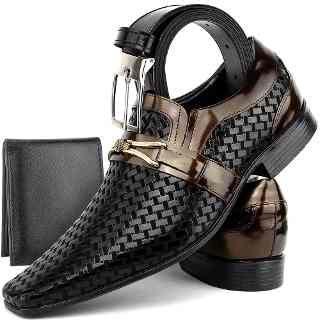 ac094701e Sapato Social Masculino Couro Stilo Italiano +cinto+carteira - R$ 129,90 em  Mercado Livre